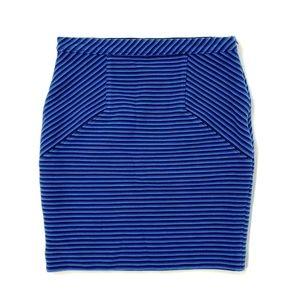 ANN TAYLOR Blue Black Striped Skirt Size 4